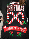 Christmas Black Letter Crew Neck Printed Long Sleeve T-Shirts