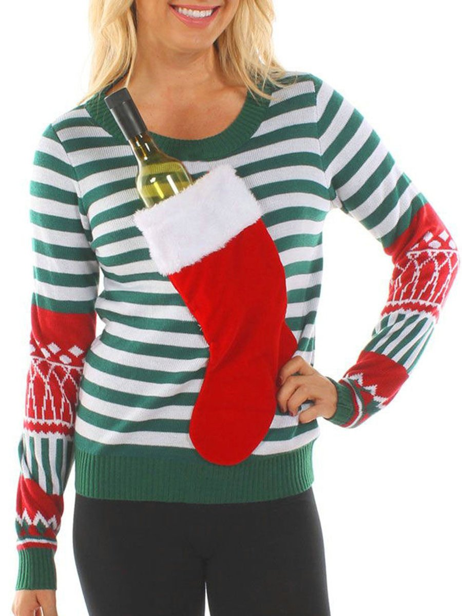 Christmas Green Crew Neck Casual Stripes T-Shirts