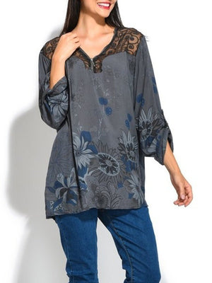 Plus size V Neck Lace Long Sleeve T-Shirts