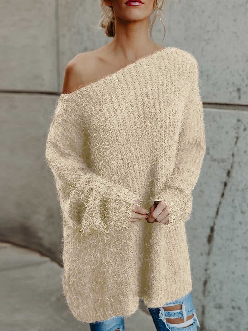 Women Fall/Winter Fuzzy Long Sleeve One-shoulder Neckline Sweater