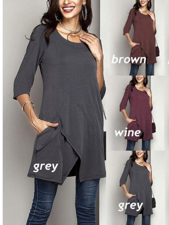 Round Neck Half-Sleeve Slit Hem Pocket Midi T-shirt