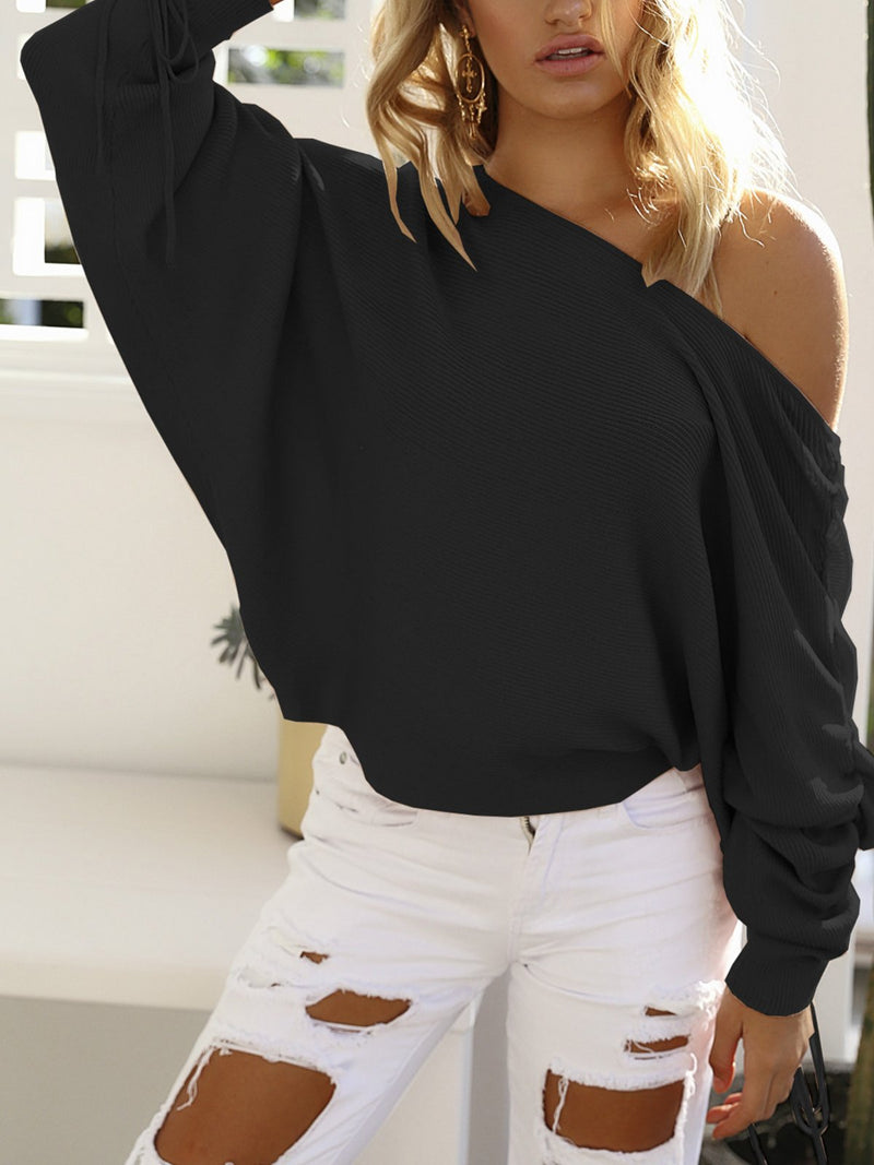 Women Off-the-shoulder Collar Batwing Irregular Sleeves Knitted Sweater