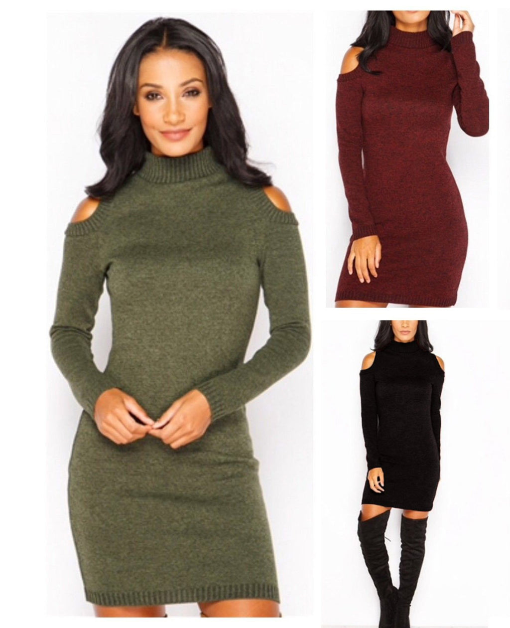 A/W Turtle Neck Cold Shoulder Sweater Dress
