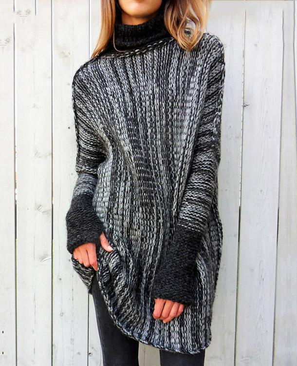 Grey Fashion Loose Hip-below Length Motley Turtle Neck Sweater