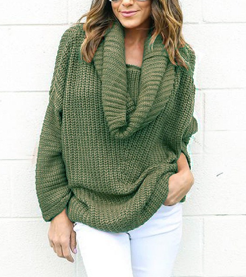 High-necked Loose-knit Simple Versatile Sweater