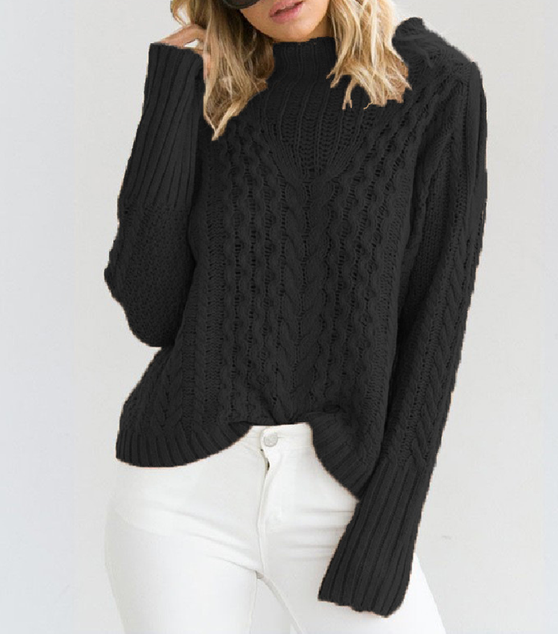 Casual High-necked Twist Off-the-shoulder Sweater