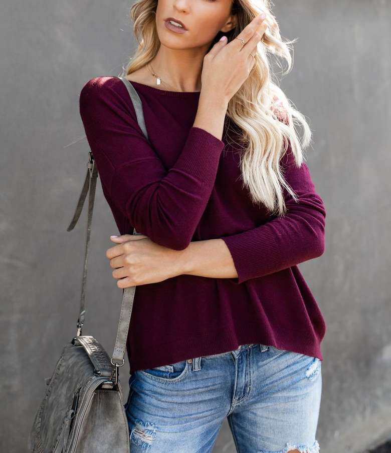 Back Zippered Long Sleeve Sweater