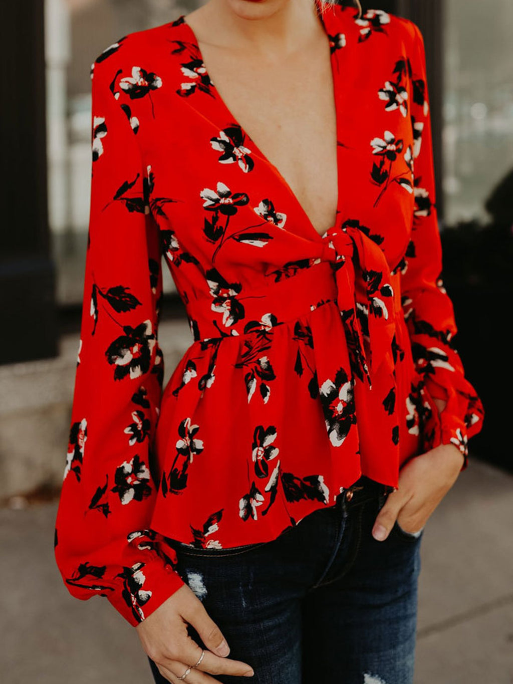 Sexy V Neck Bowed Front Floral Print Blouse