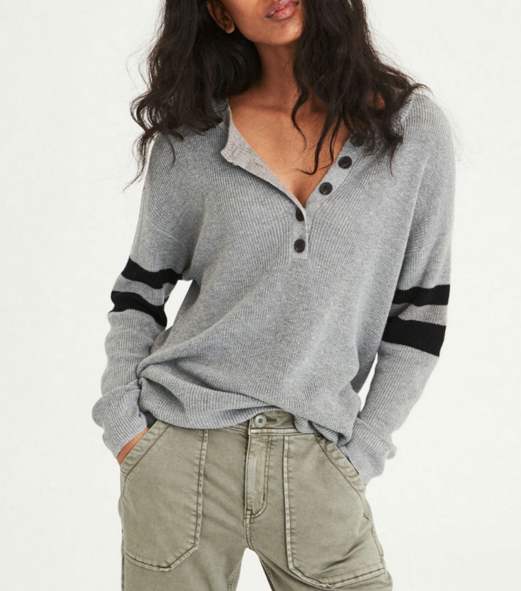 Sexy V-neck Button Comfortable Color Matching Sweater Shirt