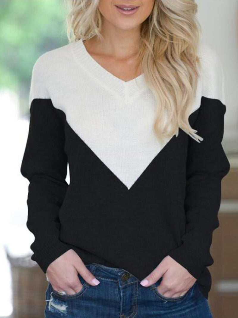 Sexy V-neck Characteristic Color Matching Design Long-sleeved Sweater