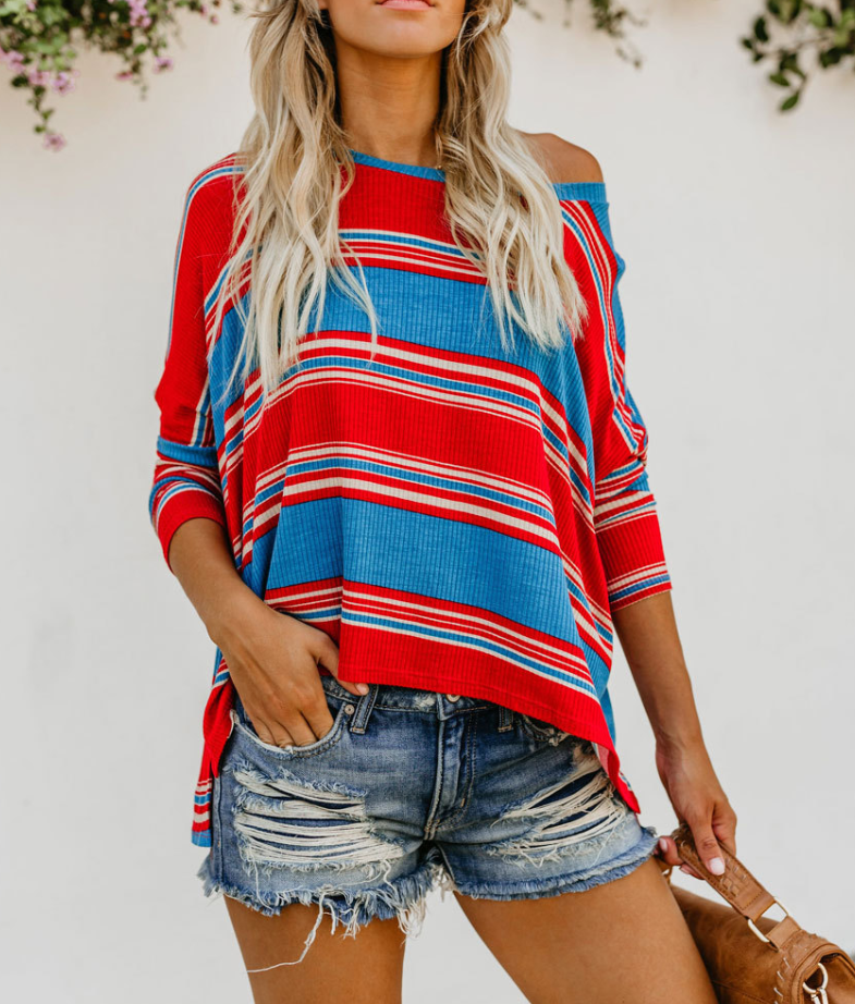 Sexy Round Neck Red Blue White Color Striped Print Loose Shirt