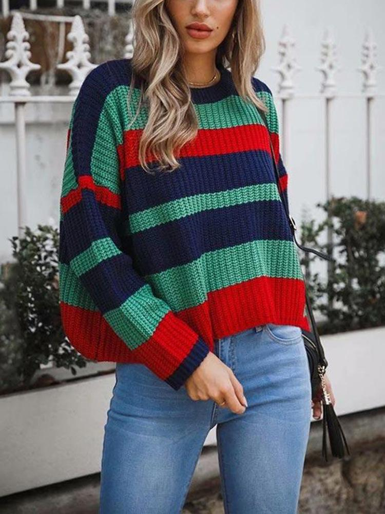Women's Casual Round Neck Long Sleeve Color Matching Sweater