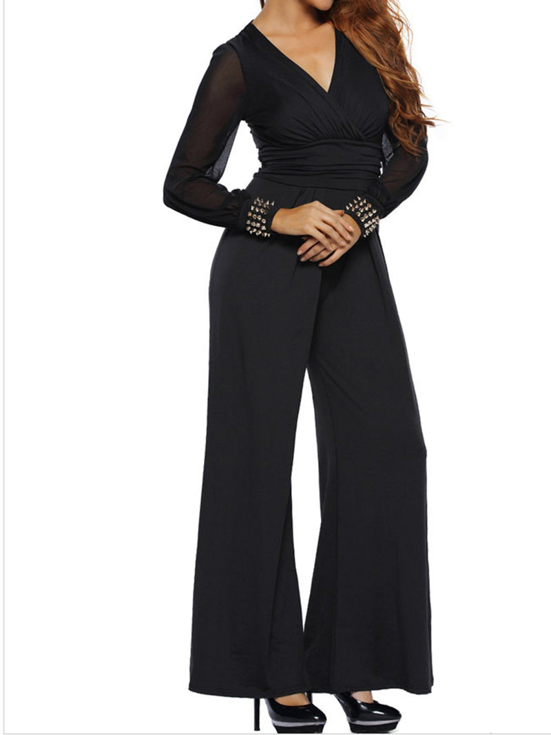 Fashionable Long Sleeved V-neck Lace Spliced Cuff Trousers