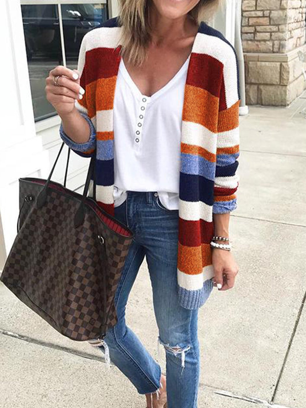 Multicolor Rainbow Stripe V Neck Knitwear Cardigan