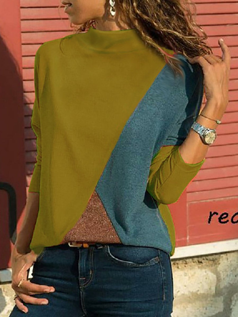 Casual Color Block Paneled Turtle Neck Long Sleeve T-shirt