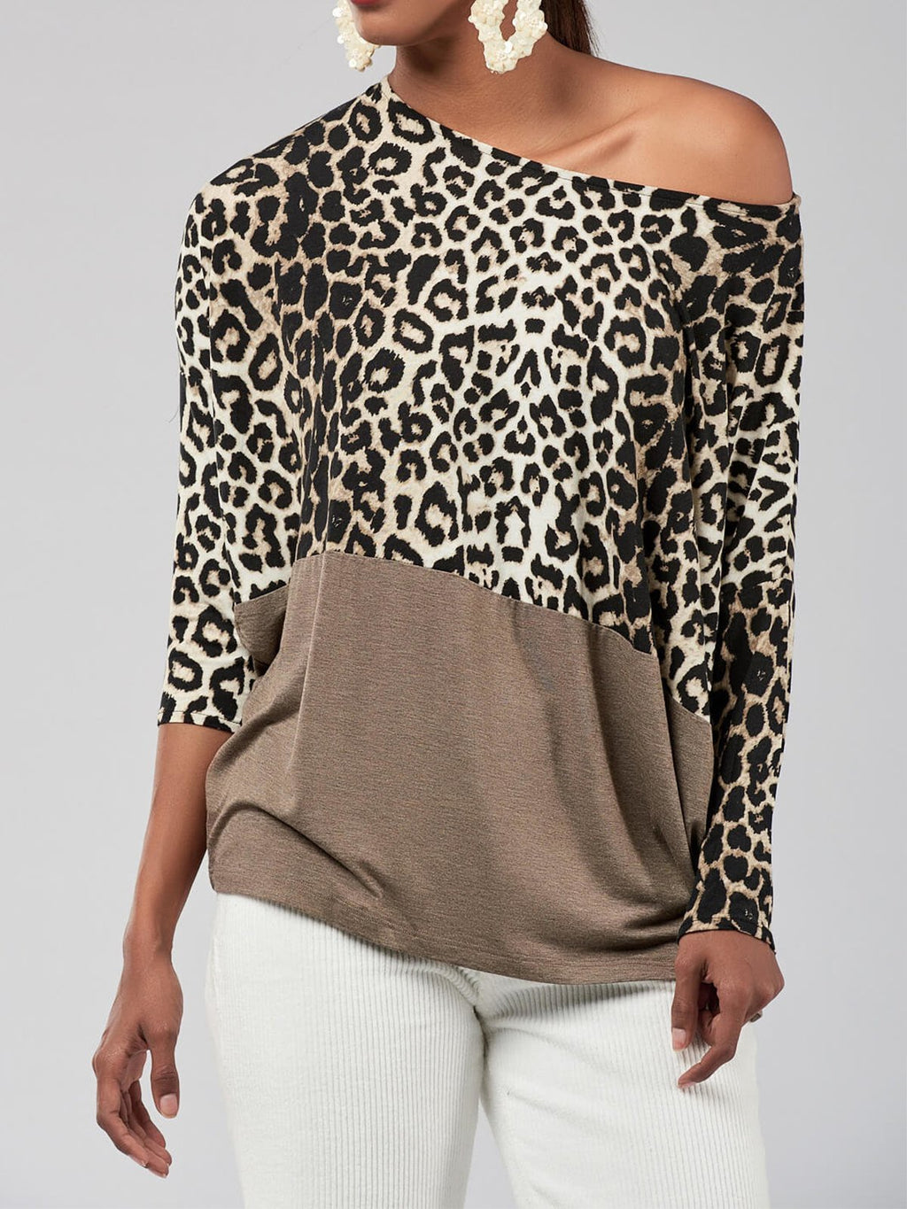 Camel Leopard Brown Color Block Hem One Shoulder Batwing Sleeve Blouse