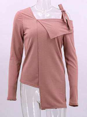 Bow-tied One Shoulder Asymmetric Hem Solid Long Sleeve Sweater
