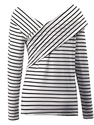 Casual Striped Cross Paneled Long Sleeve T-shirt