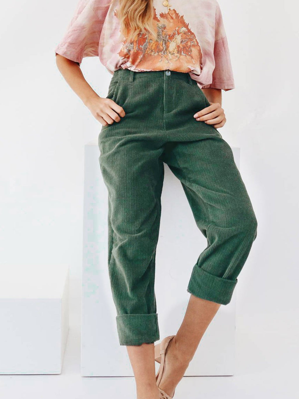 Green A/W Cordury Solid Pants