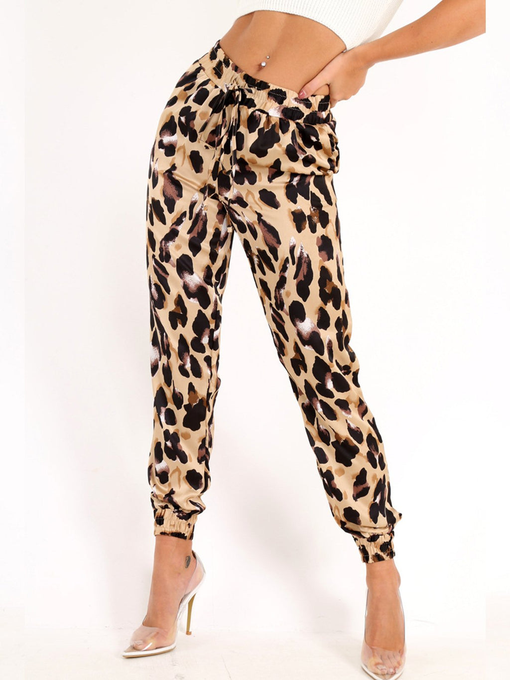 Leopard Print Adjustable Waist Lace-up Small Cuff Bloomer Pants
