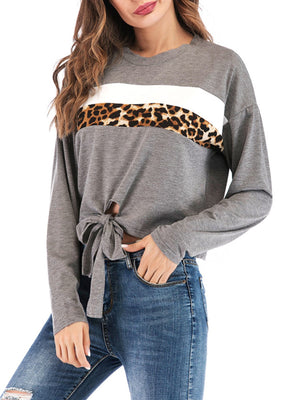 Grey Leopard Print Paneled Round Neck Long Sleeve Self-tied Blouse