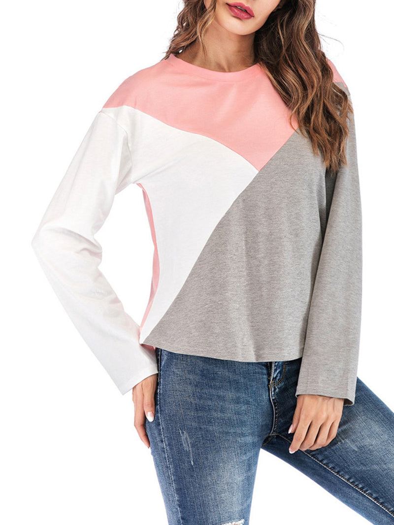 Pink Shoulder Round Neck Color Block Paneled Long Sleeve T-shirt
