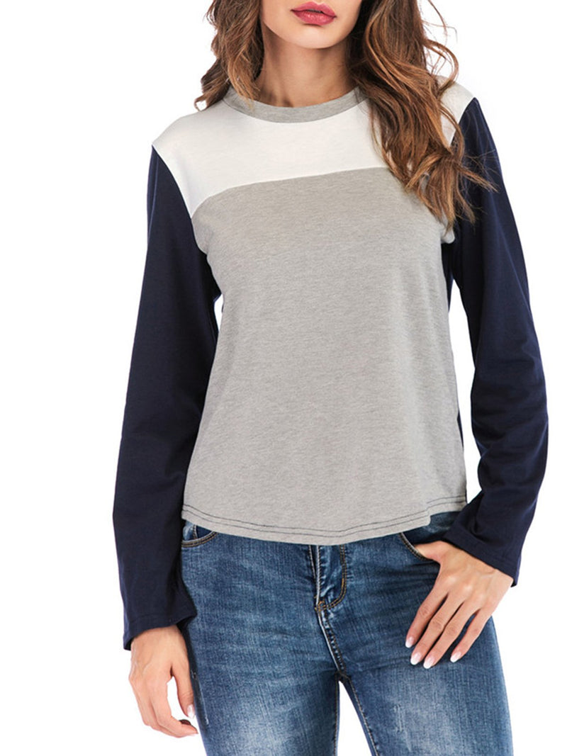 Round Neck Paneled Three colors Color Block Long Sleeve T-shirt