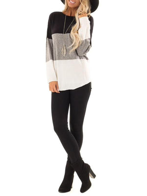AW Classic Color Block Paneled Round Neck T-Shirt