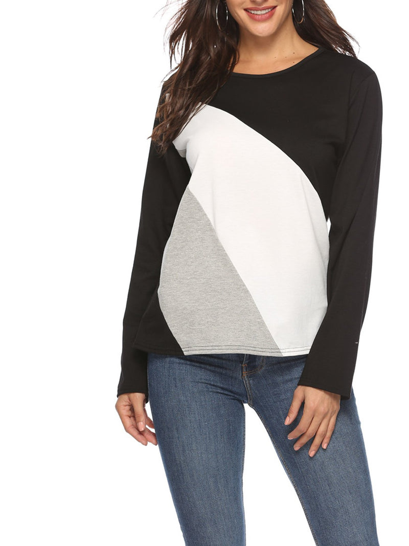 Radical Color Block Paneled Round Neck Long Sleeve T-shirt