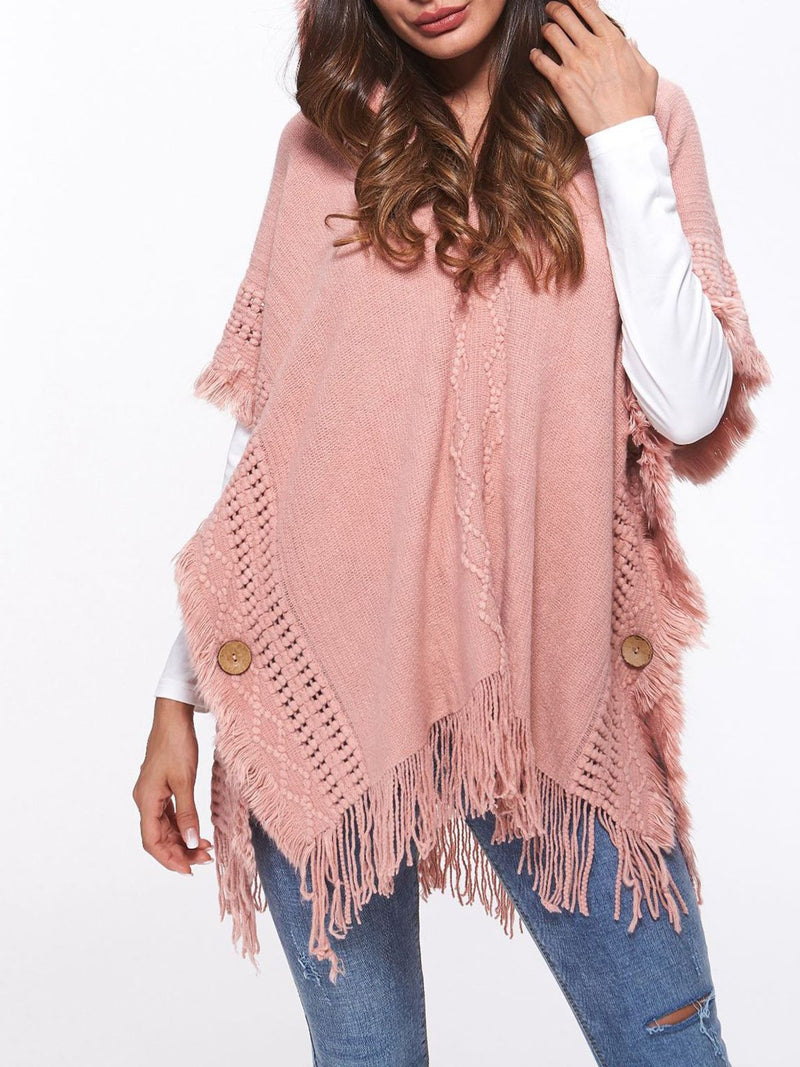 Pullover Fringe Batwing Sleeve Hoody Sweater Blouse