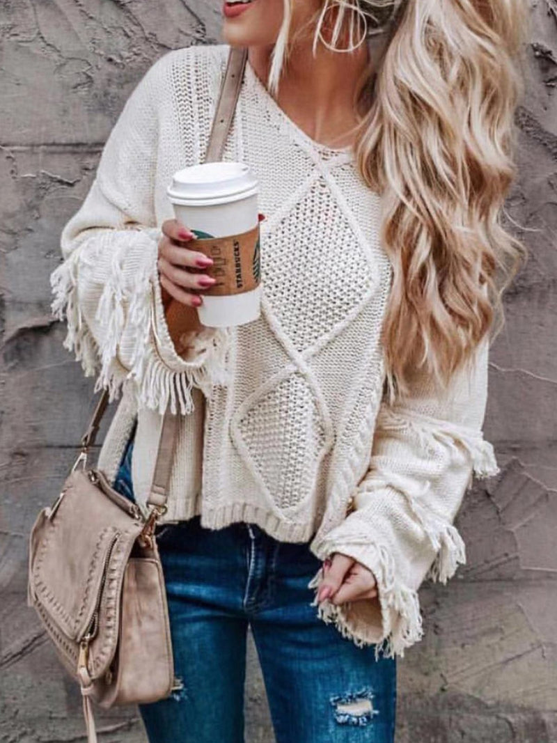 Casual Fringe Sleeve Solid Sweater