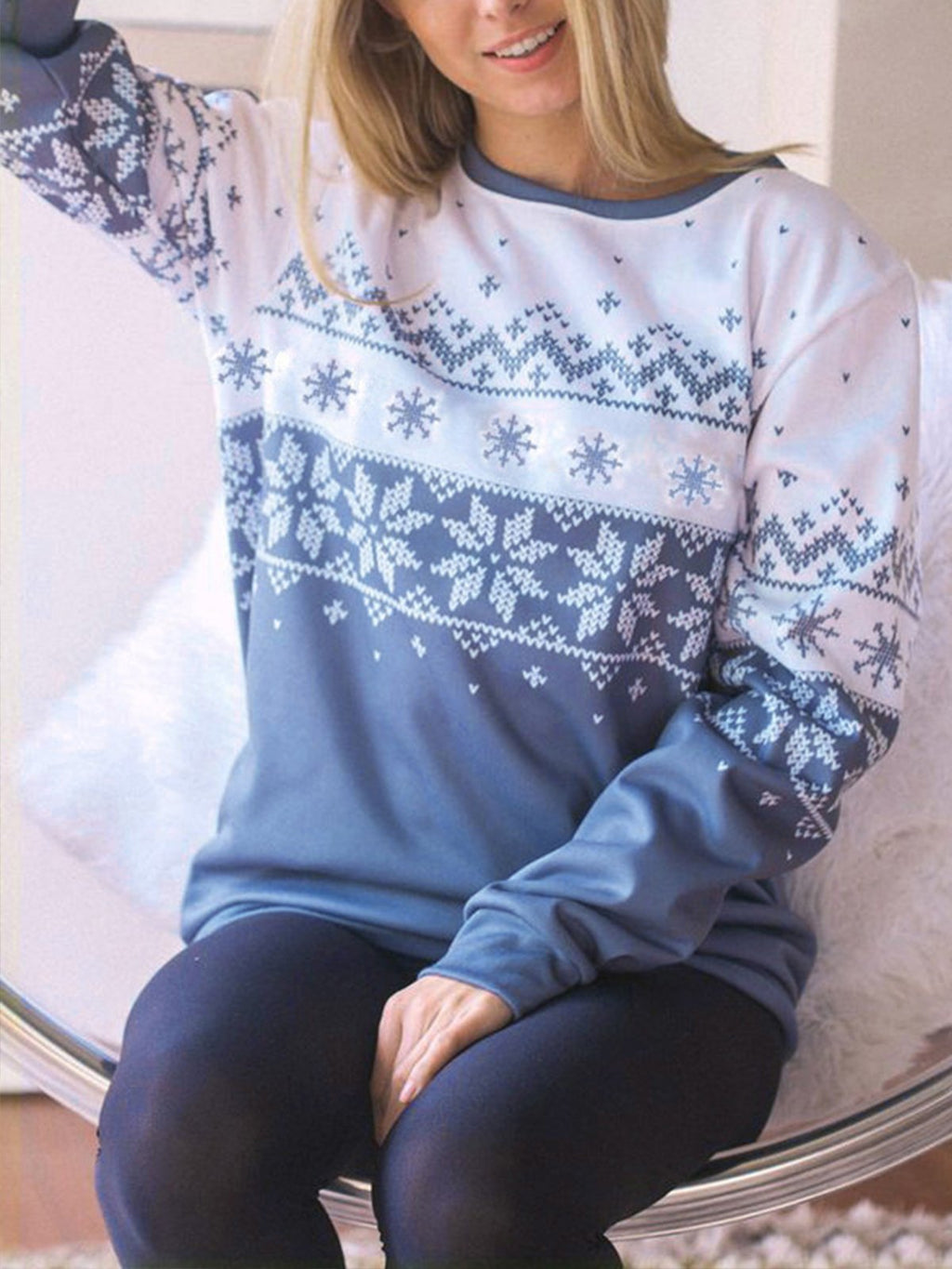 Christmas Cute Snowflake Pullover Long Sleeve Blouse