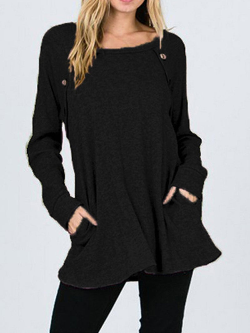 Round Neck Long Sleeve Slope Buttoned Shoulder Long Shirt