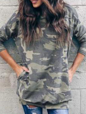 Round Neck Camouflage Print Casual Pocket Long Blouse