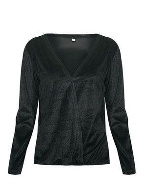 Sexy V Neck Casual Lap Design Blouse
