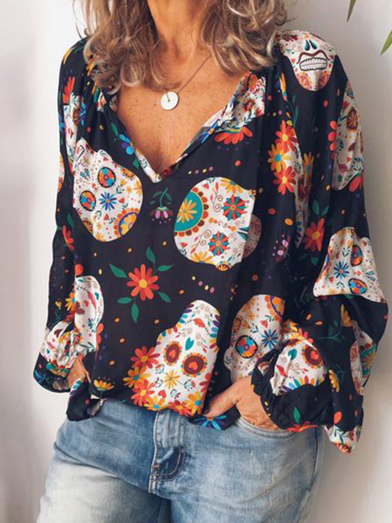 V Neck Abstract Skeleton Printed Blouses