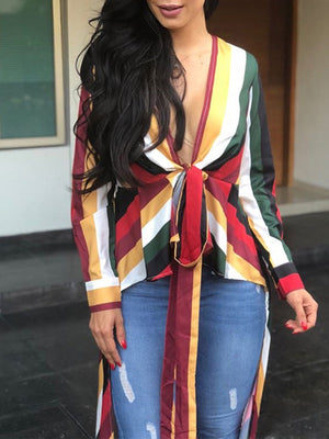 Colorful Striped Irregular Casual Top