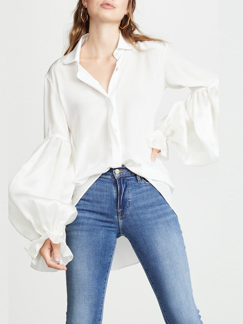 Pure White Peter Pan Collar Paneled Bloomer Sleeve Loose Shirt