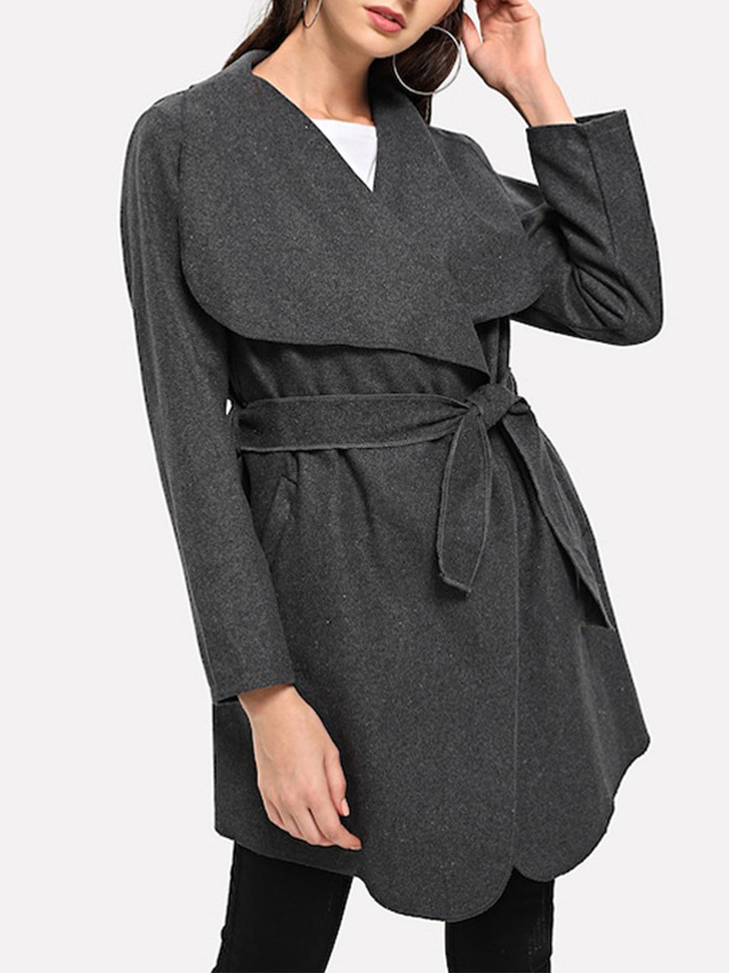 Paneled Belted Long Sleeve Lapel Collar Buttonless Coat