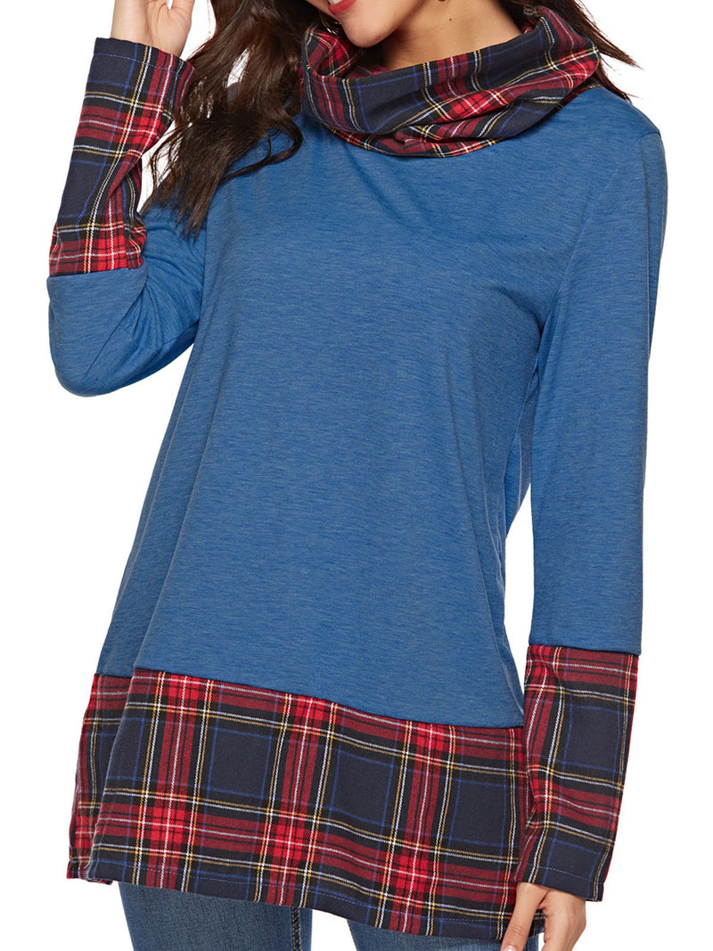 Plaid Heaps Collar&Cuff&Hem Midi Long Sleeve T-shirt