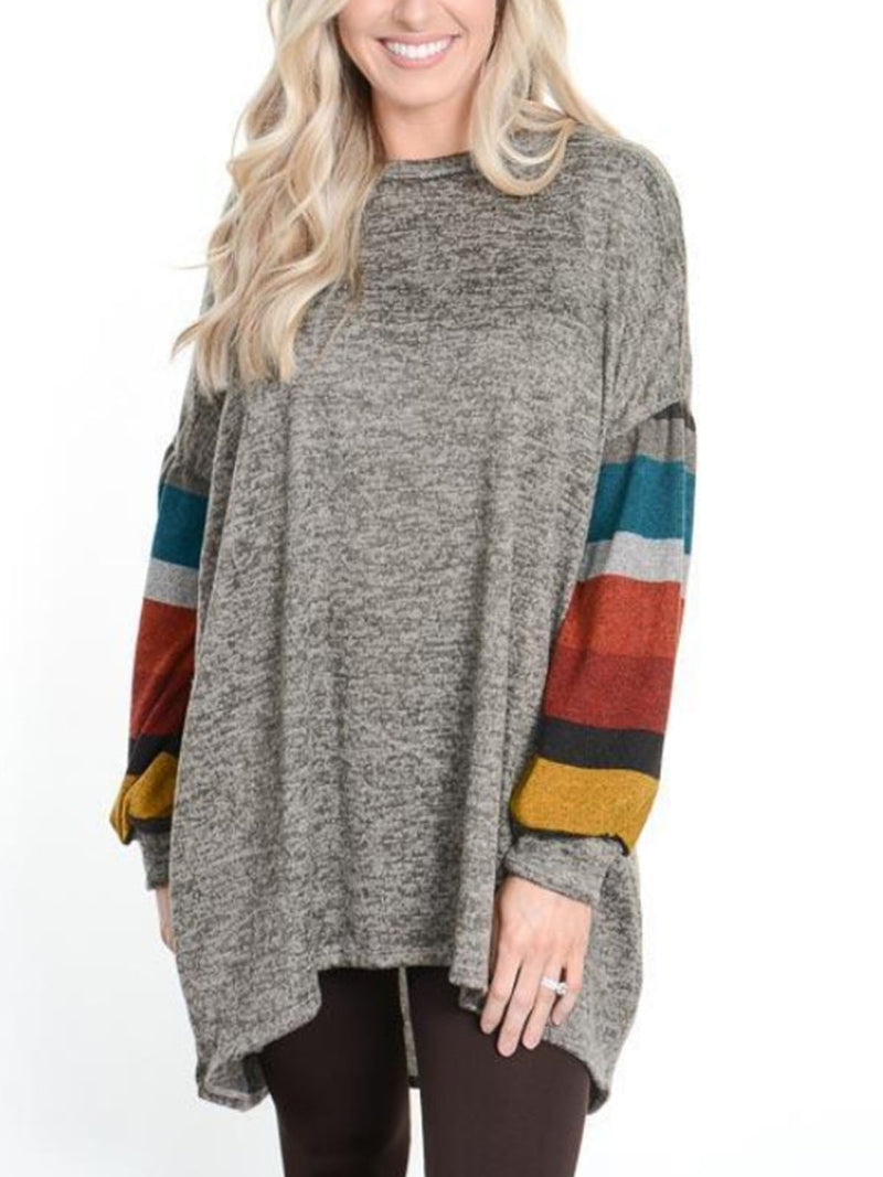 Rainbow Stripe Sloeve Drop Shoulder Long Sleeve Round Neck Women Blouse