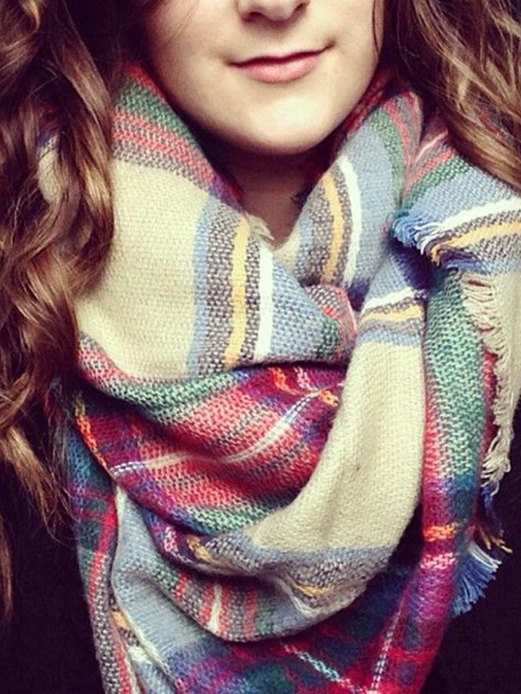 Woolen Multicolor Plaid Elegant Raw Edge Scarf