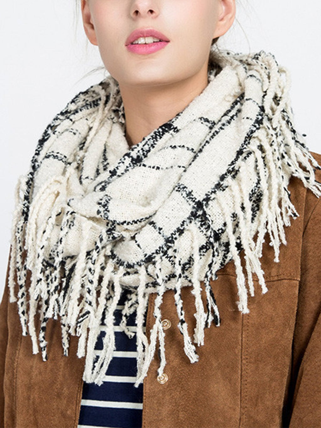 Women Long Fringe Plaid Warm Pullover Scarf