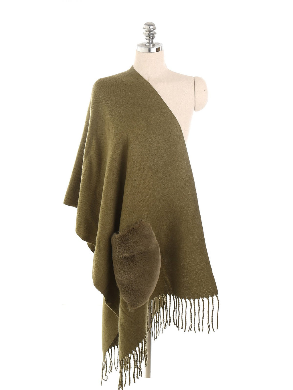 Armygreen Solid Fringe With Pocket Woolen Shawl Scarf