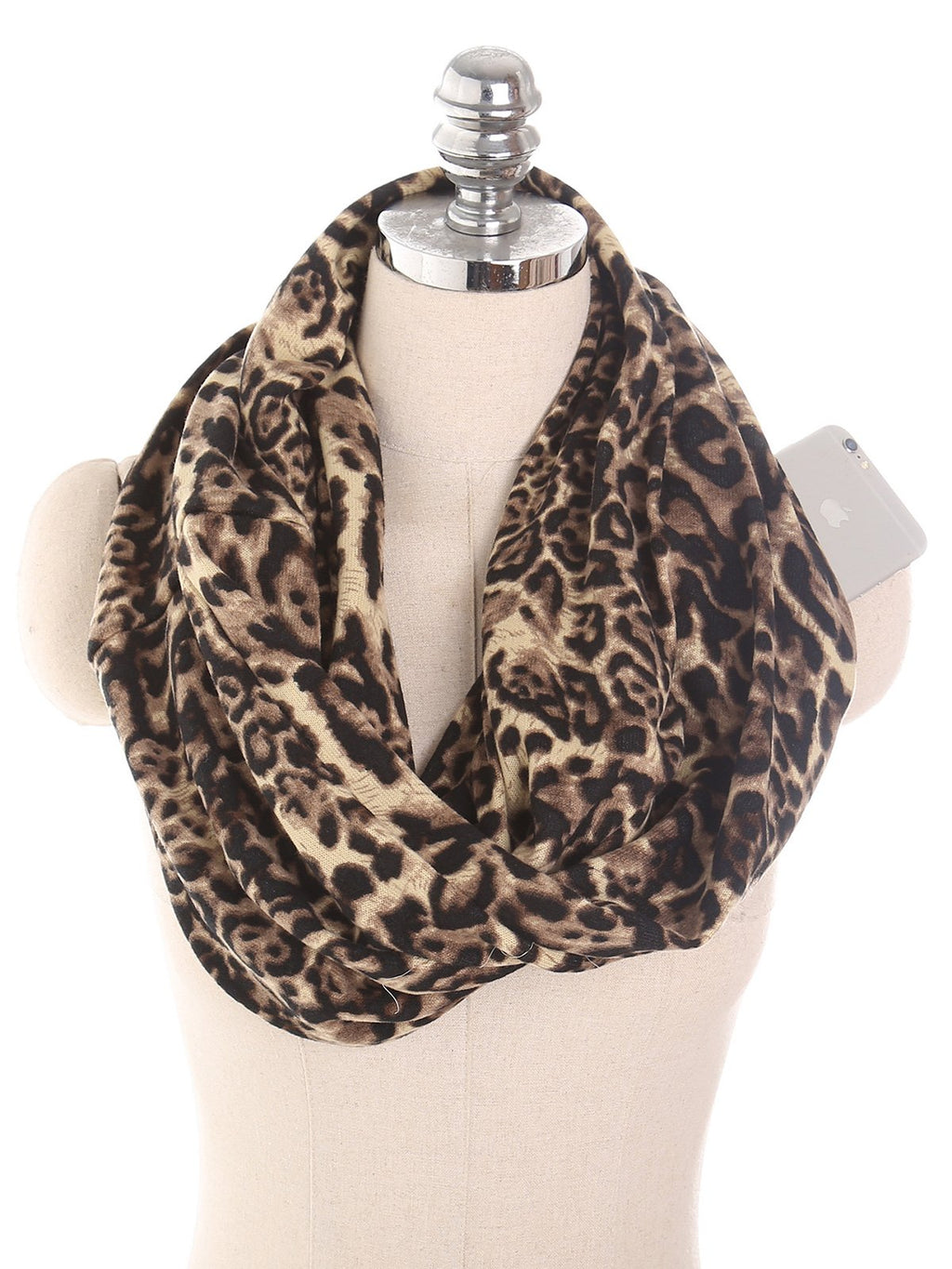 Leopard Print With Zip Fashion Pullover Scarf