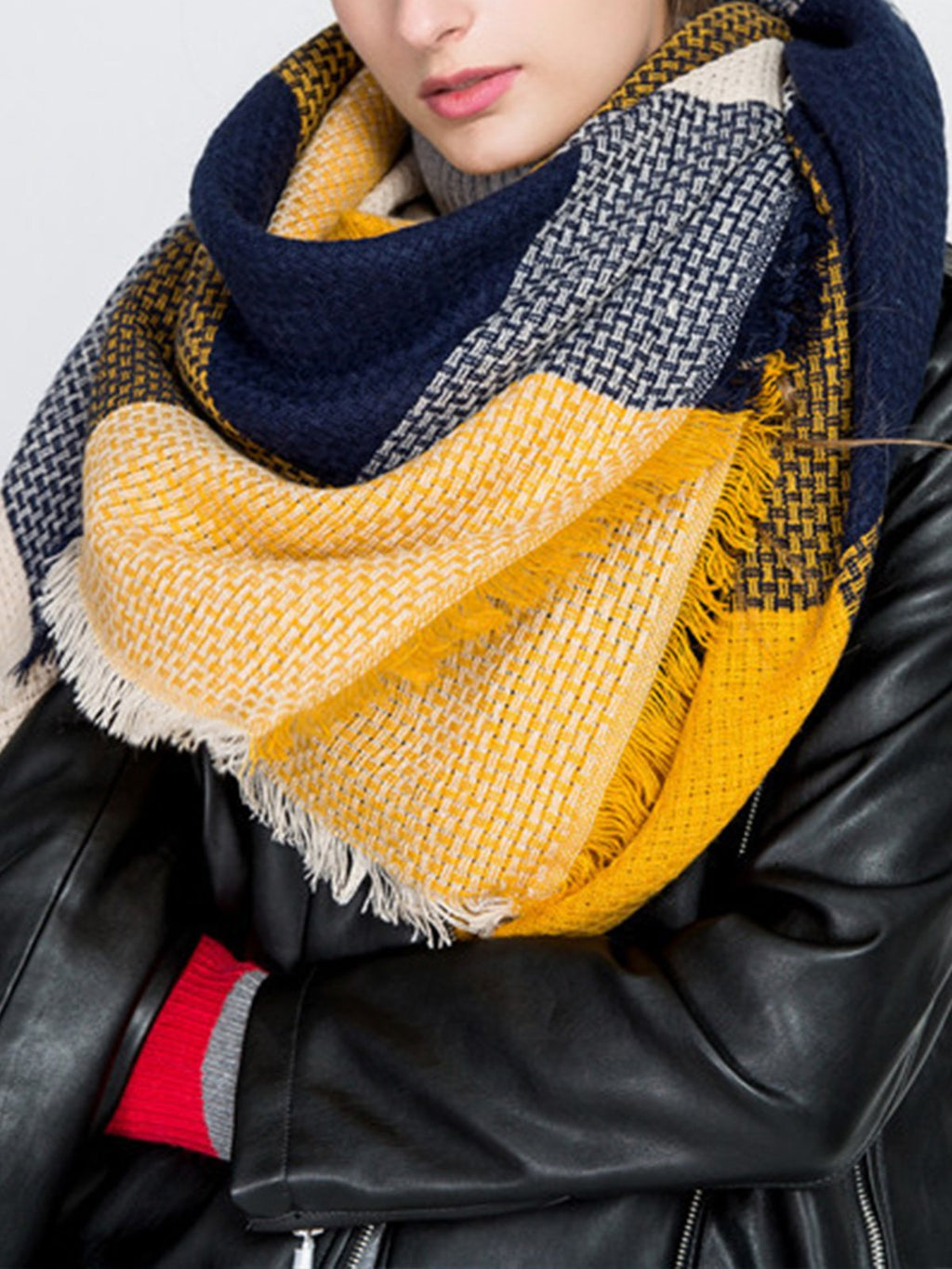 Yellow/Navy Plaid Woolen Vintage Warm Squre Shawl