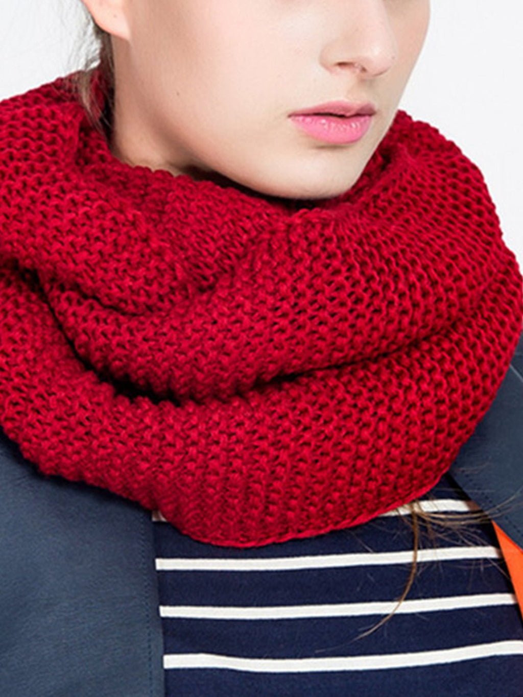 Solid Yarn Knit Thicken Scarf