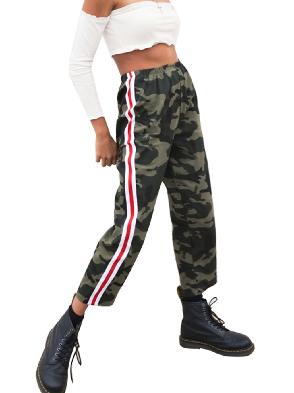 High Rise Camouflage Casual Shift Women Cropped Pants