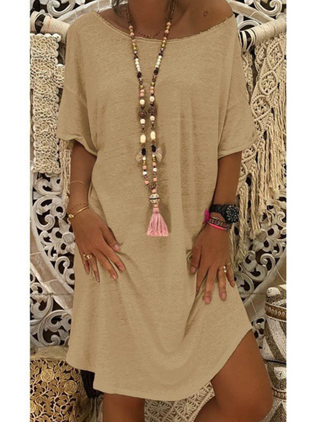 Knit Lengthen Short Sleeve Round Neck Loose Dress