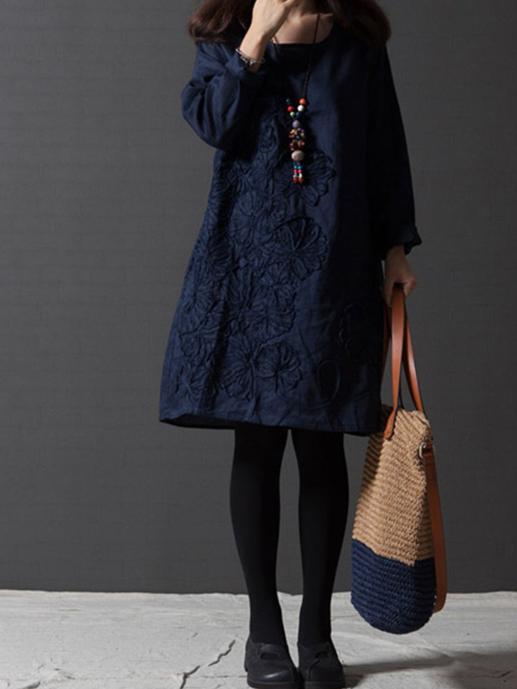Women Loose Embroidery Linen Long Sleeve Dress
